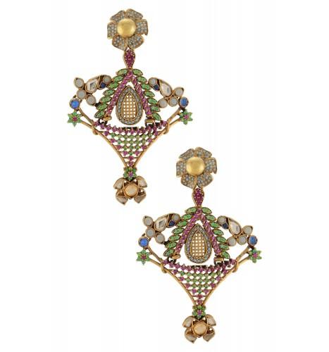 Silver Flower Multi Colored Jaali Peacock Earrings