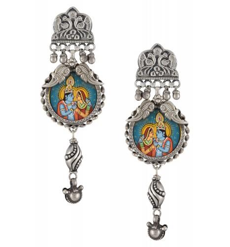 Silver Oxidised Radha Krishna Embossed Mayura Earrings