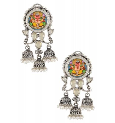Silver Oxidised Vinayaka Glass Jhumki Droplet Earrings