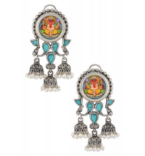 Silver Oxidised Vinayaka Turquoise Jhumki Droplet Earrings