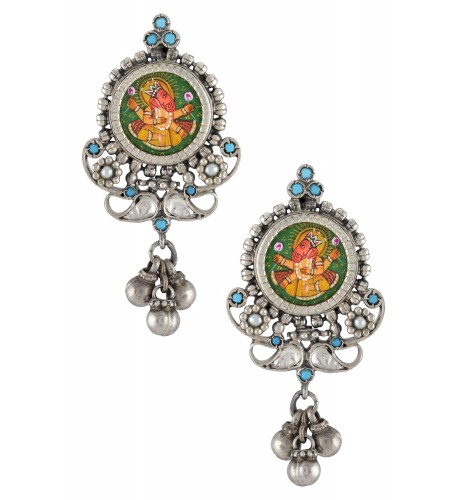 Silver Oxidised Kirti Turquoise Glass Ball Droplet Earrings
