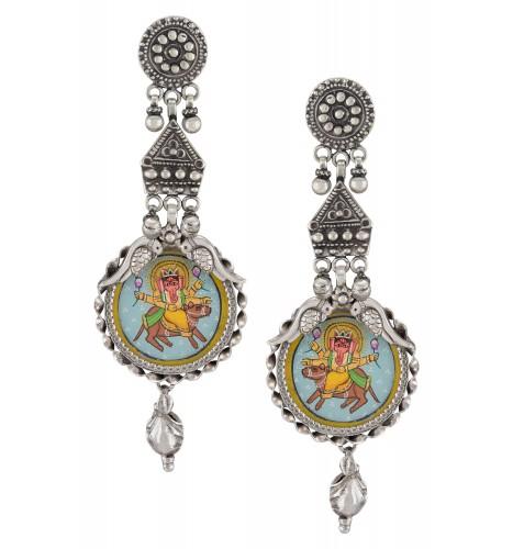 Silver Oxidised Vinayaka Embossed Peacock Earrings