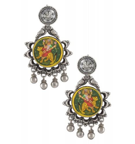 Silver Oxidised Durga Floral Bead Droplet Earrings