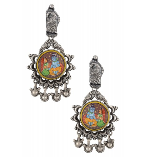 Silver Oxidised Radha Krishna Peacock Motif Earrings