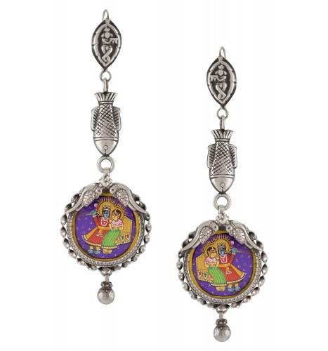Silver Oxidised Radha Krishna Fish Peacock Earrings