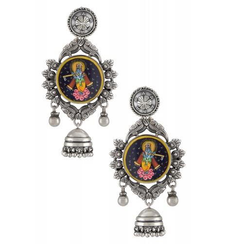 Silver Oxidised Kanhaiya Floral Jhumki Drop Earrings