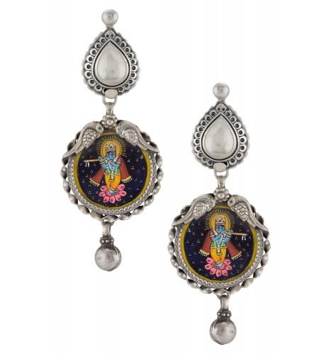 Silver Oxidised Kanhaiya Pear Peacock Earrings