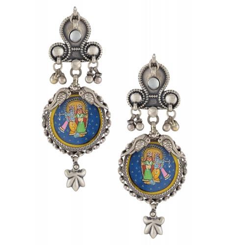 Silver Oxidised Radha Krishna Floral Drop Earrings