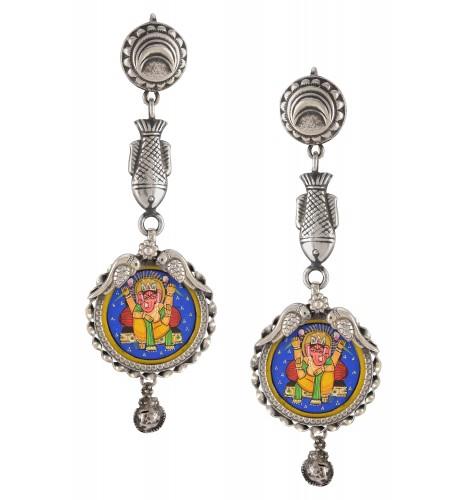 Silver Oxidised Alampata Fish Crescent Motif Earrings