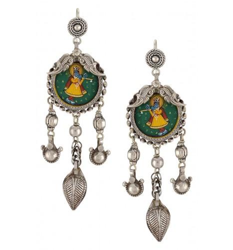 Silver Shrikanta Bead Leafy Drop Tassel Earrings