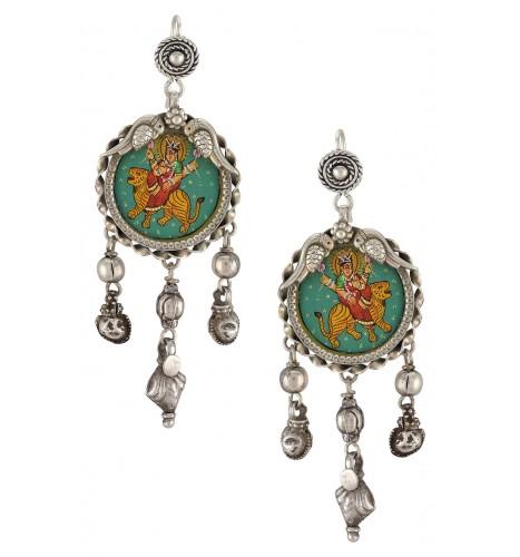 Silver Goddess Durga Peacock Motif Earrings