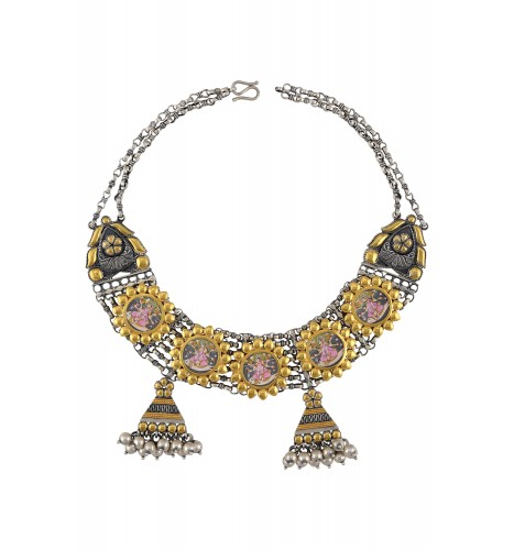 Dual Tone Silver Sun Flower Goddess Laxmi Painting Necklace