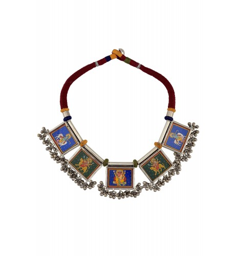 Silver Ghungroo Miniature Painting Thread Necklace