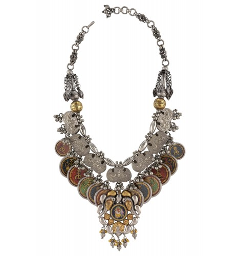 Dual Tone Silver Multi Motif Painting Necklace