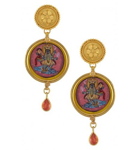 Silver Gold Plated Shiva Kali Earrings