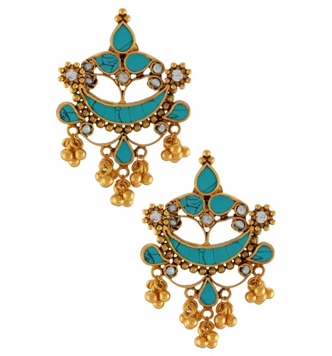 Pear Crescent Turquoise Flower Rawa Earrings