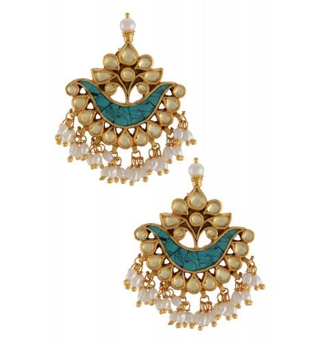 Leafy Turquoise Pear Pearl Drop Earrings