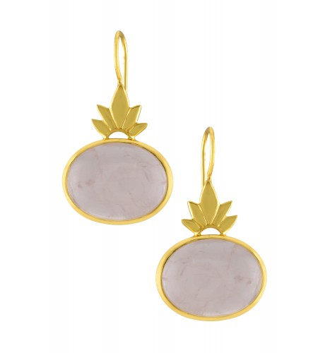 Silver Gold Plated Leafy Rose Quartz Earrings