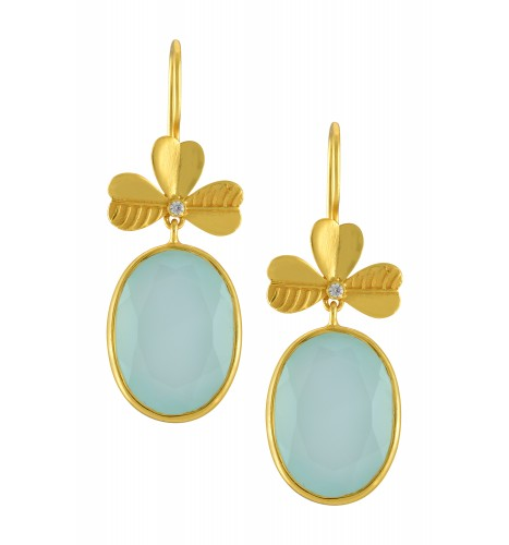 Silver Gold Plated Aqua Oval Drop Earrings