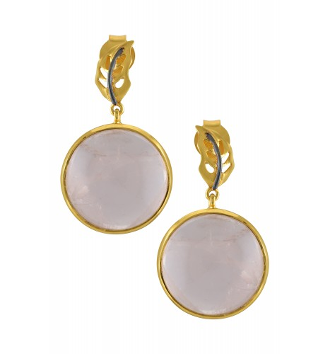Silver Gold Plated Round Leafy Rose Quartz Earrings
