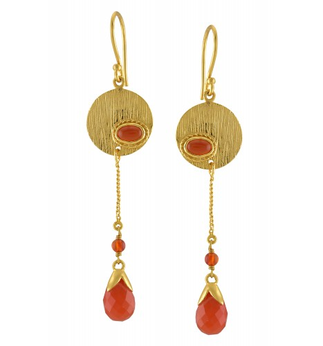 Silver Gold Plated Red Onyx Textured Droplet Earrings