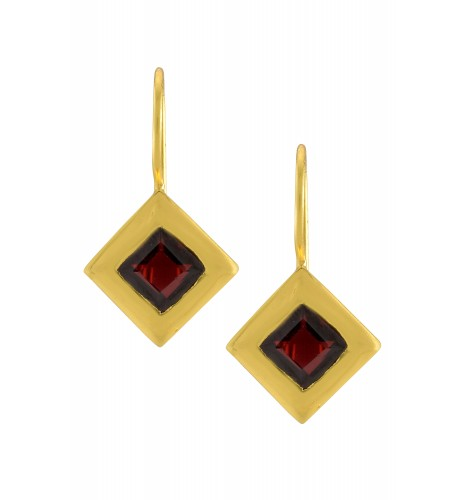 Silver Gold Plated Square Garnet Earrings