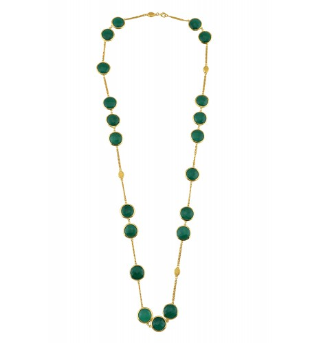 Silver Gold Plated Green Onyx Chain Necklace