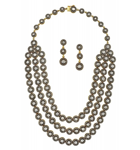Three Strand Round Stone Necklace Set