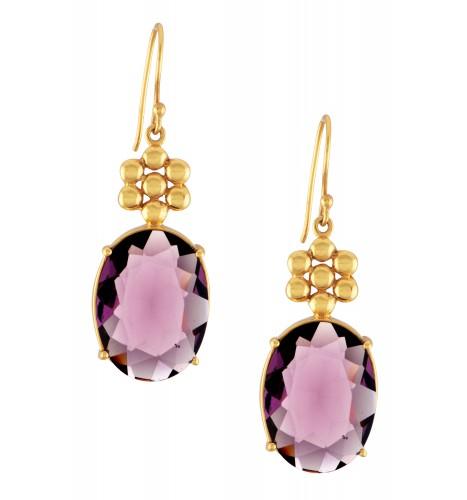 Gold Plated Purple Glass Earrings