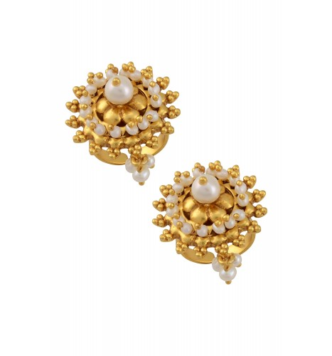 Silver Floral Chakra Pearl Rawa Toe Rings