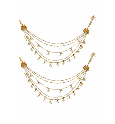 Silver Multi Strand Lotus Pearl Drop Anklets