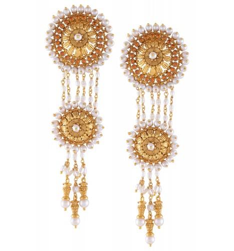 Silver Chakra Pearl Drop Earrings
