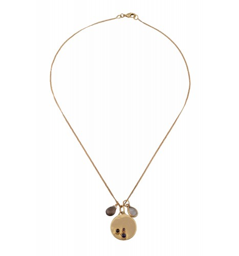 Gold Plated Tri-Stoned Necklace