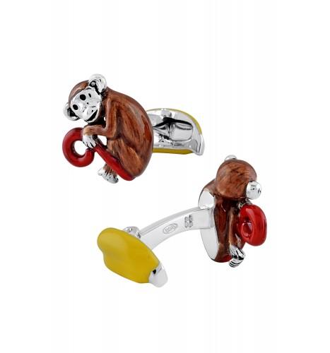 Silver Enameled Red Tail Monkey Banana Cufflinks