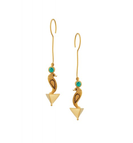 Silver Gold Plated Pyramid Earrings