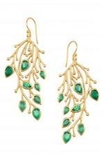 Silver Leaf Stem Rawa Earrings