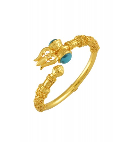 Silver Gold Plated Trishul Turquoise Bangle