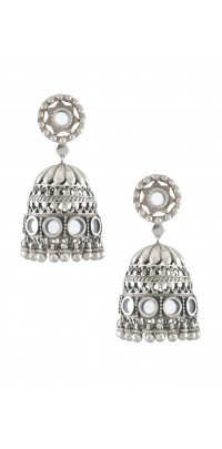 Silver Mirror Ghungroo Jhumkis