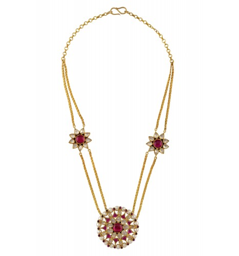 Silver Gold Plated Crystal Pearl Round Flower Necklace