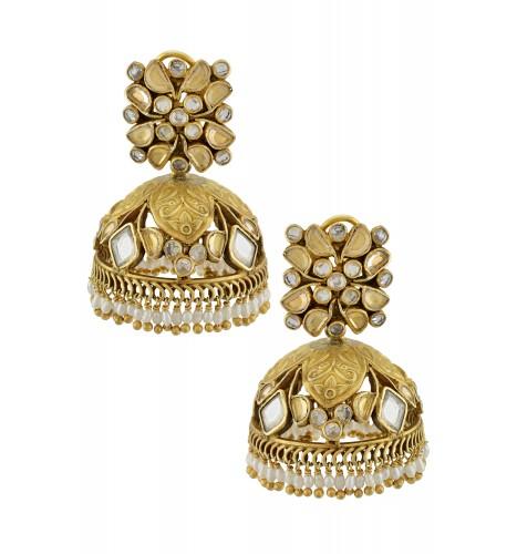 Silver Gold Plated Floral Leaf Motif Crystal Jaali Pearl Jhumka
