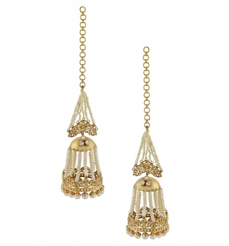 Silver Gold Plated Floral Multi Pearl Strand chandelier  Earrings