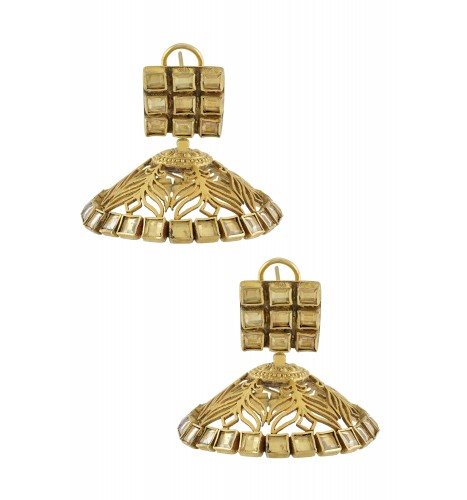 Silver Gold Plated Leaf Jaali Square Crystal Jhumka Earrings