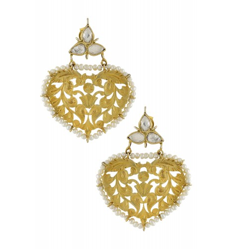 Silver Gold Plated Floral Leaf Jaali Pearl Border Crystal Earrings