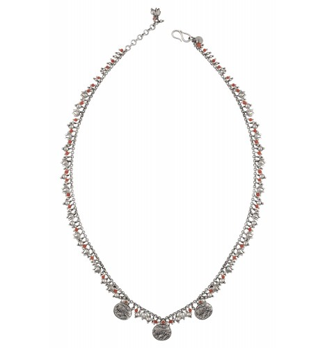 Silver Oxidized Floral Coin Bead Drop Anklet